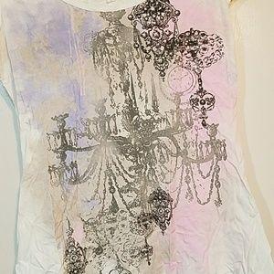 White chandelier bedazzle graphic purple pink